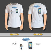 Kids around phone printed on t-shirt. Vector design. — Stock Vector