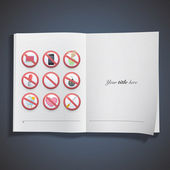 Set of prohibited signs printed on book. Vector design — Stock Vector