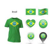 Set of Brazil design over white background — Stock Vector