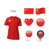 Set of China design over white background — ストックベクタ