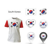 Set of Korea design over white background — 图库矢量图片