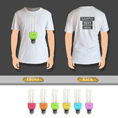 Set of colorful realistic bulbs printed on shirt. Vector design — Stock Vector
