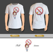 Kid holding prohibited sign printed on shirt. Vector design — Stock Vector