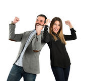 Couple winner over white background — Stock Photo