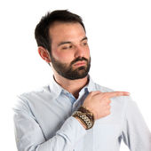 Men pointing over white background — Stock Photo