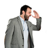 Businessman screaming over white background — Stock Photo