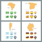 Set of flag designs over white background. — Stock Vector