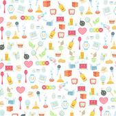Pattern of cute icons over white background. Vector design — Stock Vector