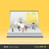Kids around pushpin on empty book. Vector design — Stock Vector