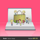 Kids around green bag on empty book. Vector design — Stock Vector