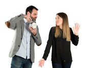 Angry man because his girlfriend has been late for an appointment — Stock Photo
