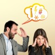 Businessman screaming at his girlfriend over yellow background — Stock Photo