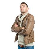 Handsome man thinking over isolated white background — Stockfoto