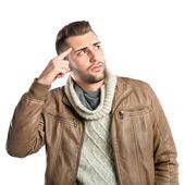 Hombre haciendo un gesto loco sobre fondo blanco — Foto de Stock