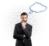 Empresario pensando sobre fondo blanco con iconos de patrón — Foto de Stock