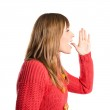 Young girl shouting over isolated white background — Stock Photo #40068685