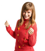Successful young pretty woman over white background — Stock Photo
