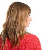 Portrait of pretty blonde over white background — Foto Stock