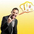 Stock Photo: Businessmdoing horn sign over yellow background