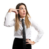Businesswoman making a crazy gesture over white background — Stock Photo