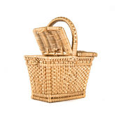 Wicker basket over isolated white background — Stock Photo