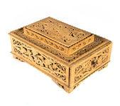 Ретро деревянный ящик над изолированный белый фон — Стоковое фото