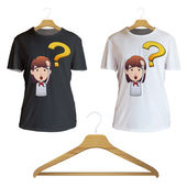 Surprised redhead girl holding printed on shirt. Vector design. — Stock Vector