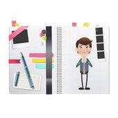 Businessman printed over notebook. Vector design — 图库矢量图片