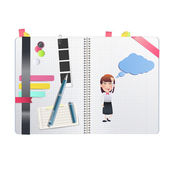 Businesswoman printed on notebook over white background — 图库矢量图片