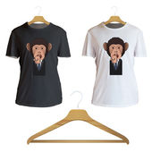 Business monkey printed on shirt. Vector design  — Stock Vector