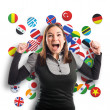 Successful young pretty woman over background with flag icons — Stock Photo