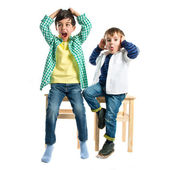 Kids screaming over white background  — Photo