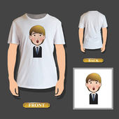 Businessman printed over realistic shirt. Vector design — Stock Vector