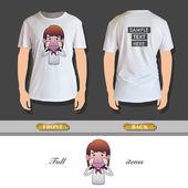 Businesswoman printed over realistic shirt. Vector design — Vector de stock