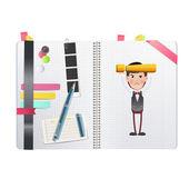 Businessman printed on notebook. Vector design — Stock Vector