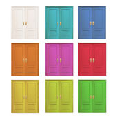 Collection of colorful doors isolated over white. Vector design.  — Stock Vector