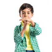 Kid making time out gesture over white background  — Stock Photo