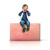 Kid screaming on rectangular placard — Stock Photo