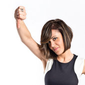Adult woman doing a bad signal over white background — Stock Photo