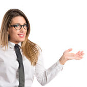 Young businesswoman holding something.  — Stock Photo