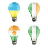 Realistic bulb of Nigeria, Ukraine, Niger, Ireland over white background — Stock Vector