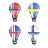 Realistic bulb of Sweden, Iceland, Norway, Finland — Stock Vector