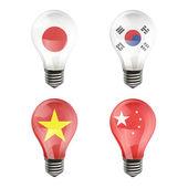Realistic bulb of Japan, Korea, China, Vietnam — Stock Vector