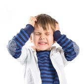 Kid frustrated over white background  — Stockfoto