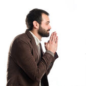 Handsome man pleading over isolated white background  — Stock Photo