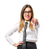 Young businesswoman making silence gesture over isolated white background  — Stock Photo