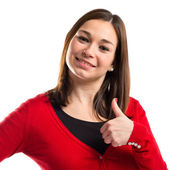 Young woman making Ok sign over white background — Stock Photo
