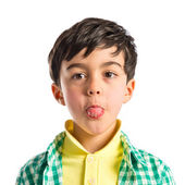 Boy making a mockery over isolated background  — Stock Photo