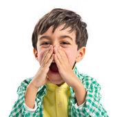 Kid screaming over white background  — Stock Photo