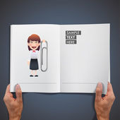 Business girl holding a clip printed on book — 图库矢量图片